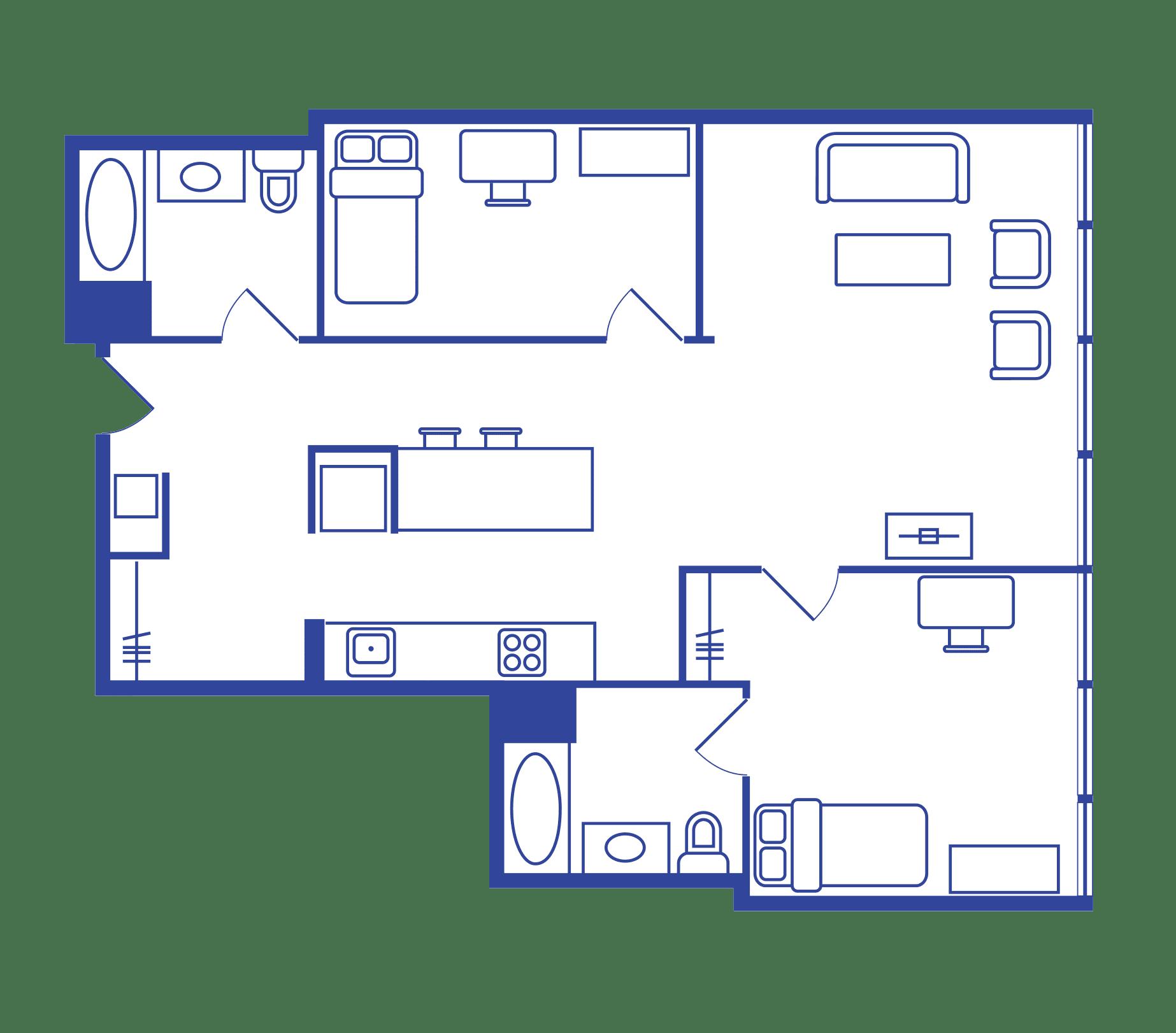 2 Bedroom Floorplan 2